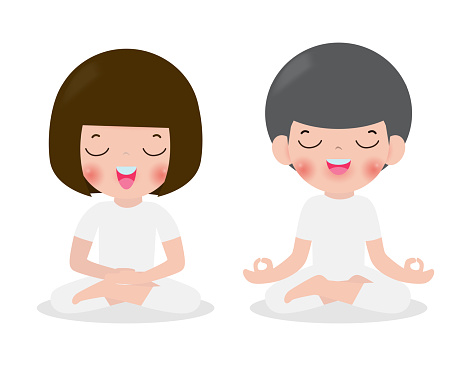 Young Woman And Man Couple Meditating In Lotus Pose Cute Cartoon Yoga And Meditation Flat Style Vector Illustration Isolated On White Background Stock Illustration Download Image Now Istock