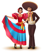 Young woman and man in Mexican national traditional clothes