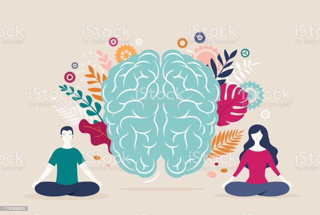 Jonge vrouw en man zitten met gekruiste benen en mediteren met de hersenen icoon op de achtergrond. Vector illustratie - Royalty-free Ademhalingsoefening vectorkunst