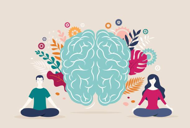 ilustraciones, imágenes clip art, dibujos animados e iconos de stock de la mujer joven y el hombre se sientan con las piernas cruzadas y meditar con el icono del cerebro en el fondo. ilustración vectorial - brain
