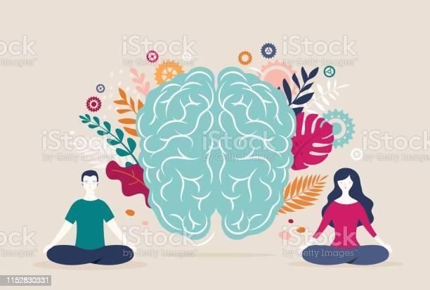 Jonge Vrouw En Man Zitten Met Gekruiste Benen En Mediteren Met De Hersenen Icoon Op De Achtergrond Vector Illustratie Stockvectorkunst en meer beelden van Ademhalingsoefening