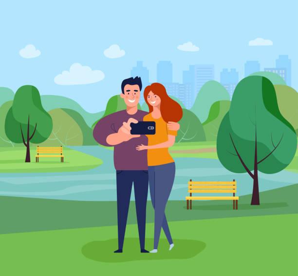 illustrazioni stock, clip art, cartoni animati e icone di tendenza di young woman and man taking selfie in the park. vector flat style illustration - woman portrait forest