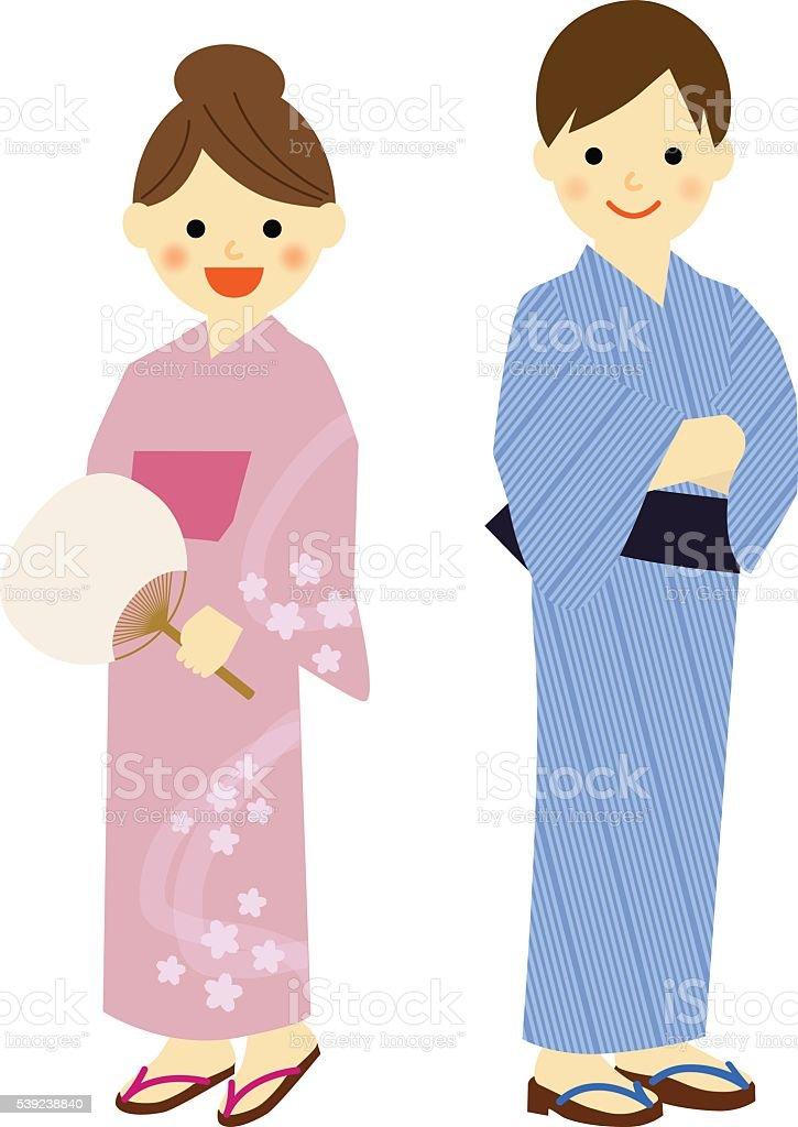 Mujer joven y un hombre usando ropa tradicional japonesa de verano, yukata. ilustración de mujer joven y un hombre usando ropa tradicional japonesa de verano yukata y más banco de imágenes de acontecimiento libre de derechos