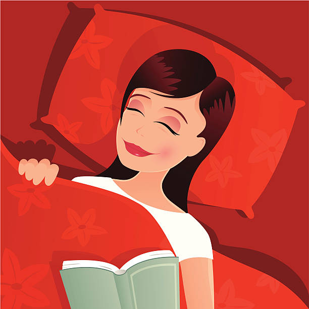 young woman asleep in bed - bedtime story stock illustrations