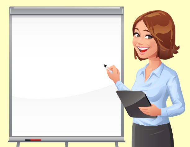 Young Woman At Whiteboard A young woman wearing a blouse and a pencil skirt, writing on a whiteboard with a tablet computer in her hand. Vector illustration with space for text. beautiful woman stock illustrations