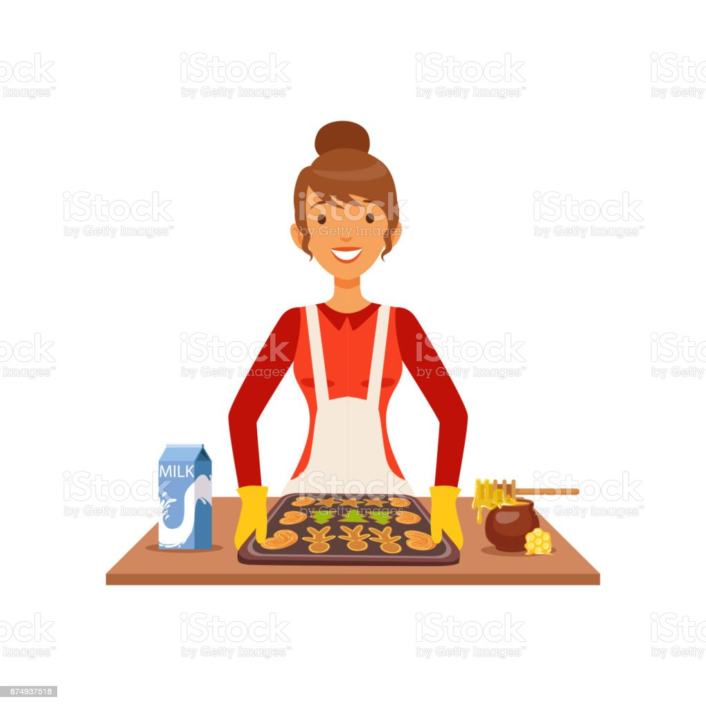 Young woman baking cookies, housewife girl cooking food in the kitchen flat vector Illustration vector art illustration