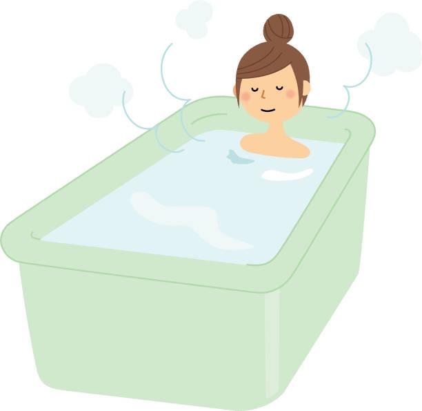bildbanksillustrationer, clip art samt tecknat material och ikoner med ung kvinna, bad tid - japanese bath woman