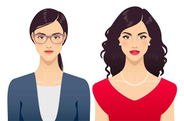 ilustraciones, imágenes clip art, dibujos animados e iconos de stock de la transformación de belleza de mujer joven - cabello negro