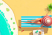 young woman bikini on sun lounger holding coconut cocktail summer vacation concept , flat style.