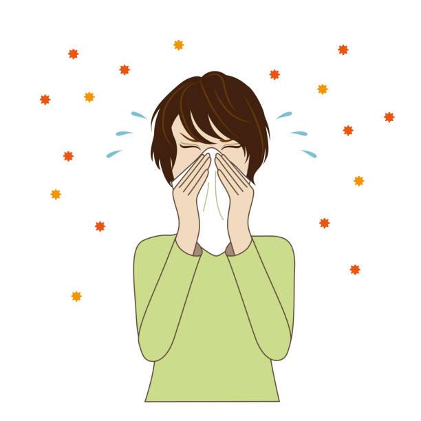 若い女性は彼女の鼻を吹く,花粉症 - くしゃみ 日本人点のイラスト素材/クリップアート素材/マンガ素材/アイコン素材