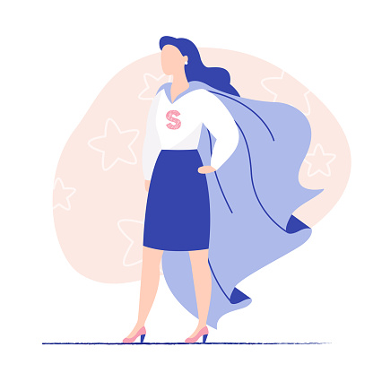 Young woman business lady wearing super hero cloak. Woman power, lady business, brave woman.