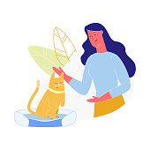 Young Woman Caress Cat Without Front Leg, Pet with Amputated Paw, Animal with Disability, Girl Character Spend Time with Domestic Animal, Human and Animal Relations. Cartoon Flat Vector Illustration