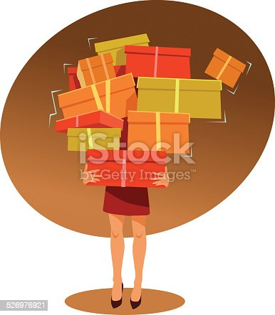 istock Young Woman Carrries Too Many Shopping Boxes 526976921