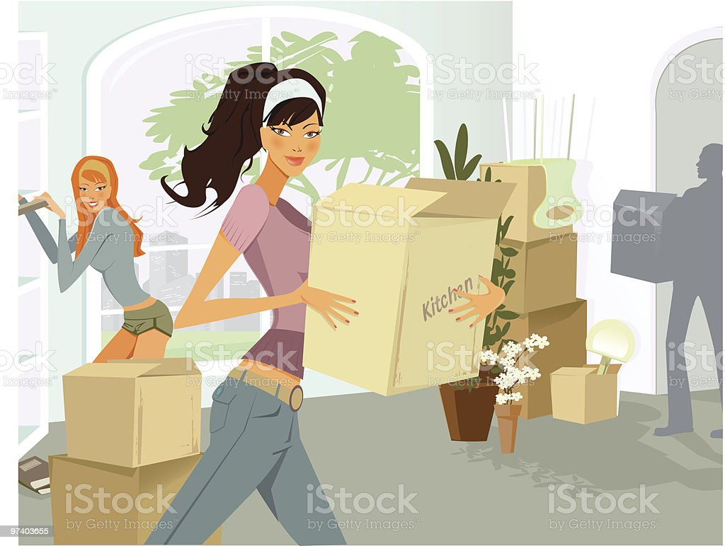 Young Woman Carrying Moving Boxes into Apartment royalty-free stock vector art