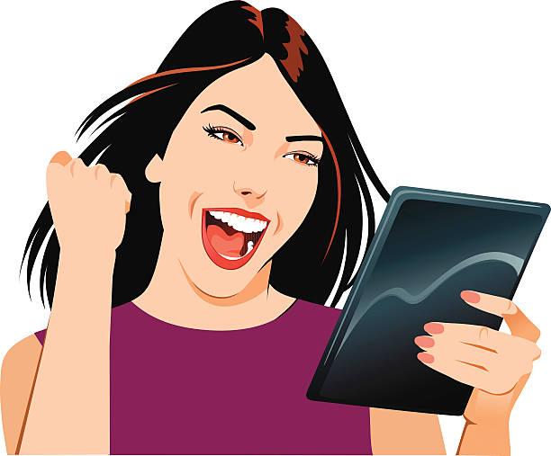 młoda kobieta obchodzi z ipada - ipad stock illustrations
