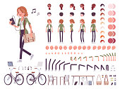 Young red-haired woman character creation set. Attractive girl with ginger hair. Full length, different views, emotions, gestures. Build your own design. Cartoon flat style infographic illustration