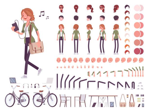 zestaw kreacji postaci młodej kobiety - grupa przedmiotów stock illustrations