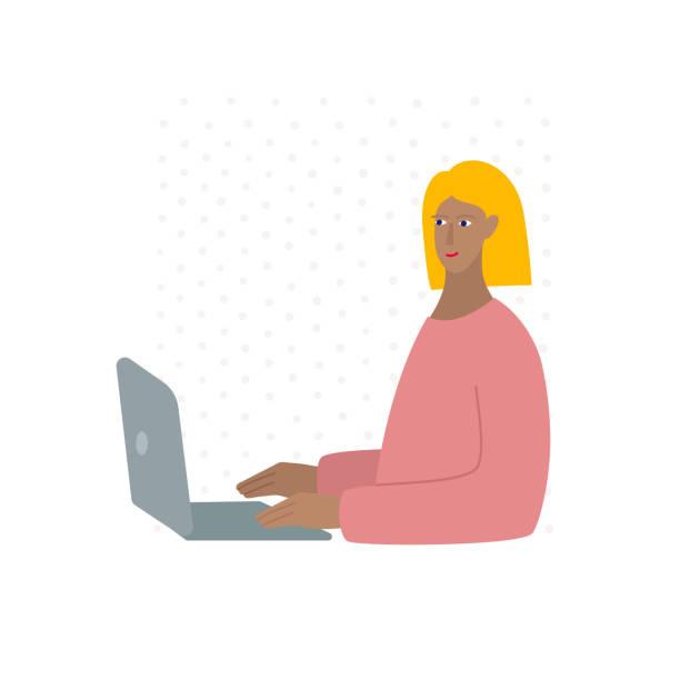 ilustrações de stock, clip art, desenhos animados e ícones de young woman character working laptop illustration - tape face