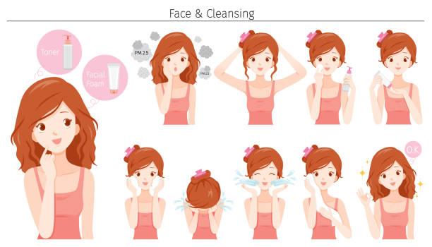若い女性のクリーニングと様々なアクションセットで彼女の顔をケア - 体 洗う点のイラスト素材/クリップアート素材/マンガ素材/アイコン素材