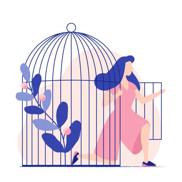 stockillustraties, clipart, cartoons en iconen met jonge vrouw komt uit de birdcage. vrouw wordt gratis. vrijheid. - kooi