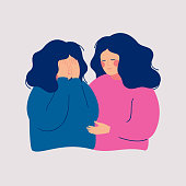 Young woman comforting her crying best friend. Depressed girl covering face with  hands and her girlfriend consoling and care about her. Help and support concept. Hand drawn style vector design illust