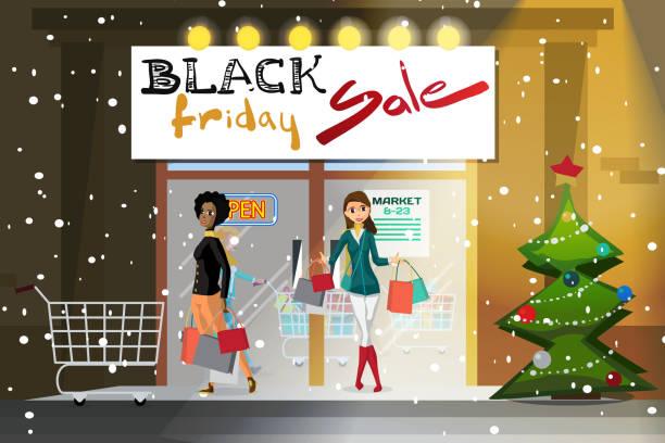 ilustraciones, imágenes clip art, dibujos animados e iconos de stock de mujer joven que sale del supermercado con las compras - black friday sale