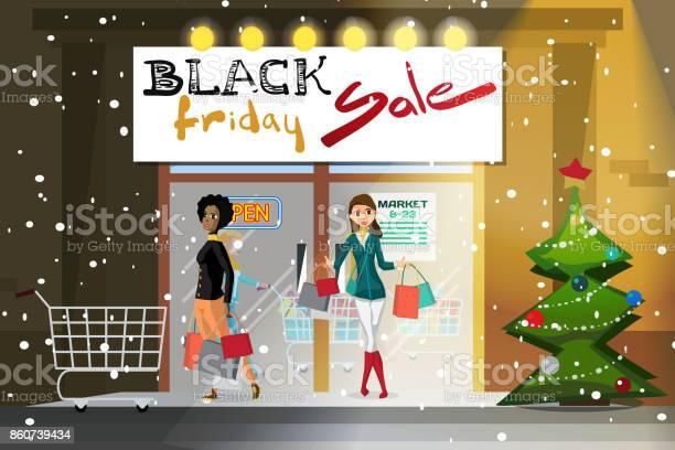 Ilustración de Mujer Joven Que Sale Del Supermercado Con Las Compras y más Vectores Libres de Derechos de Adicto a las compras