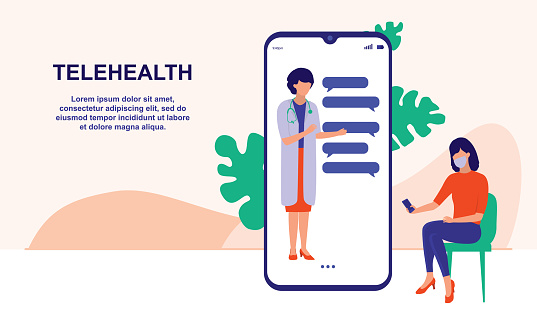 Young Woman Consulting A Doctor Online Using Her Mobile Phone. Telemedicine, Medical Treatment And Online Healthcare Services Concept. Vector Flat Cartoon Illustration.