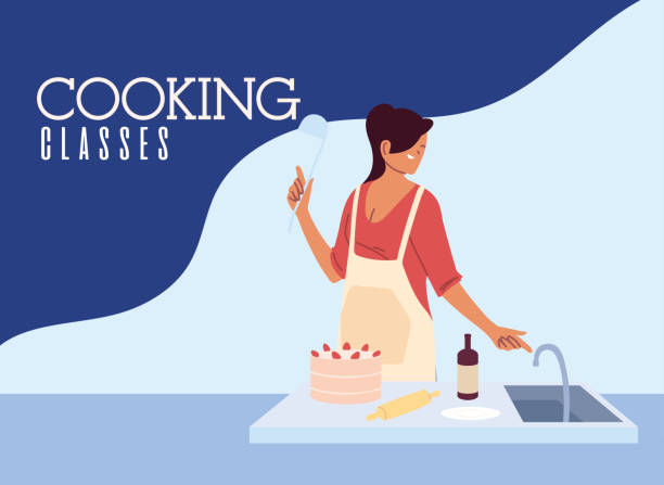 young woman cook preparing a cake in cooking class - busy restaurant kitchen stock illustrations