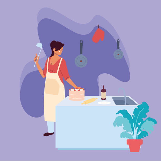 young woman cook preparing a cake in kitchen - busy restaurant kitchen stock illustrations