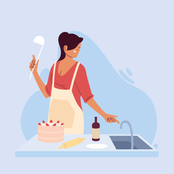 young woman cook preparing a cake - busy restaurant kitchen stock illustrations
