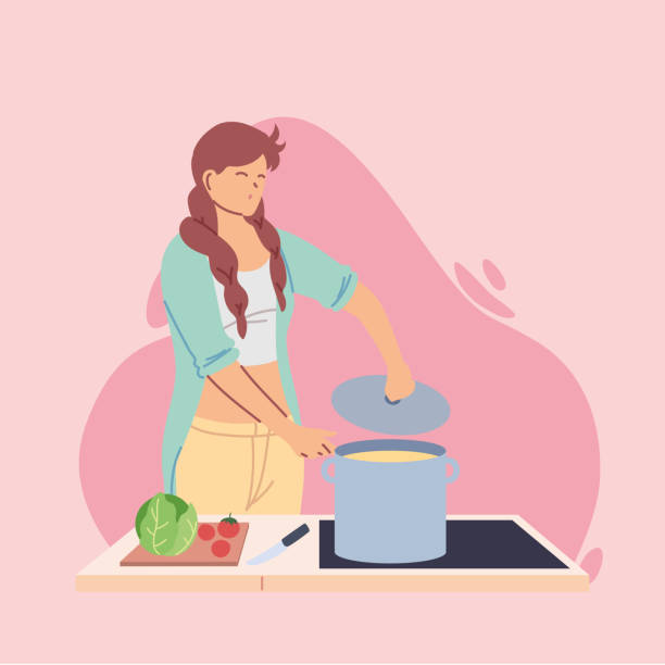 young woman cook preparing a soap - busy restaurant kitchen stock illustrations