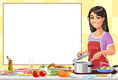 Vector illustration of a smiling young woman with long black hair wearing a red apron standing in the kitchen at the stove, cooking a meal and smiling at the camera. Concept for cooking, preparing food, healthy eating, and healthy lifestyles. Vector illustration with space for text.