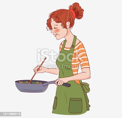istock Young woman cooking in the kitchen. Healthy food illustration. Healthy lifestyle concept. Cooking at home. Prepare food stock illustration 1311666019