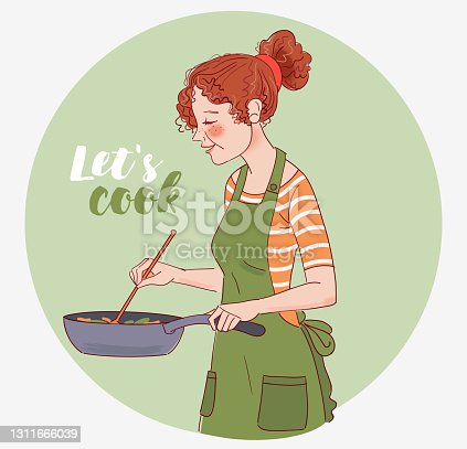 istock Young woman cooking in the kitchen. Healthy food illustration. Healthy lifestyle concept. Cooking at home. Prepare food stock illustration 1311666039