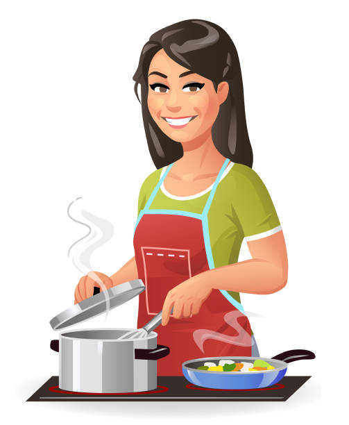 young woman cooking - woman cooking stock illustrations