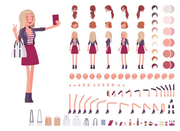 stockillustraties, clipart, cartoons en iconen met jonge vrouw creatie set - schepping
