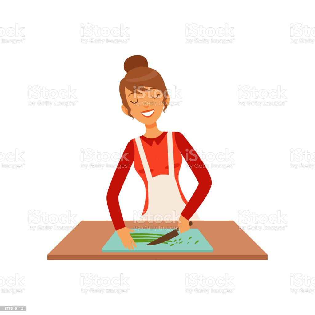 Young woman cutting greenery, housewife girl cooking food in the kitchen flat vector Illustration vector art illustration