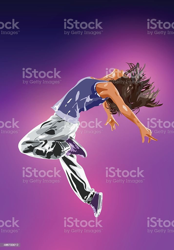 Young woman dancer vector art illustration