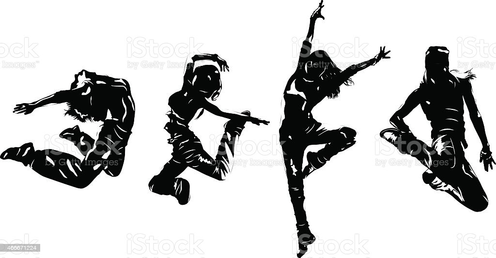 Young woman dancers jumping vector art illustration