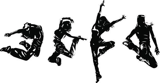 illustrations, cliparts, dessins animés et icônes de danseurs de jeune femme sauter - hip hop