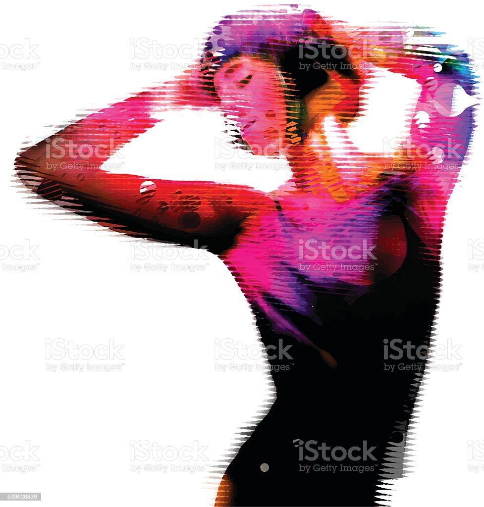 Young Woman Dancing vector art illustration