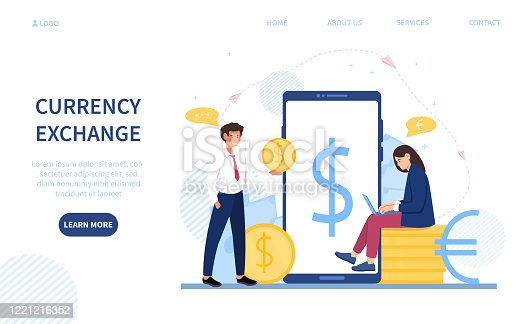 istock Young woman doing online currency exchange 1221216352
