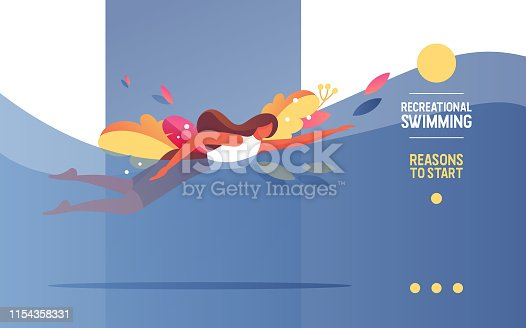 Young woman doing swimming activity in pool. Healthy lifestyle landing page or web banner concept. Flat illustration good for sport athlete.