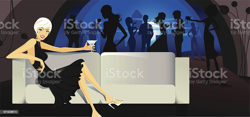 Young Woman Drinking Cocktail on Sofa in Nightclub vector art illustration