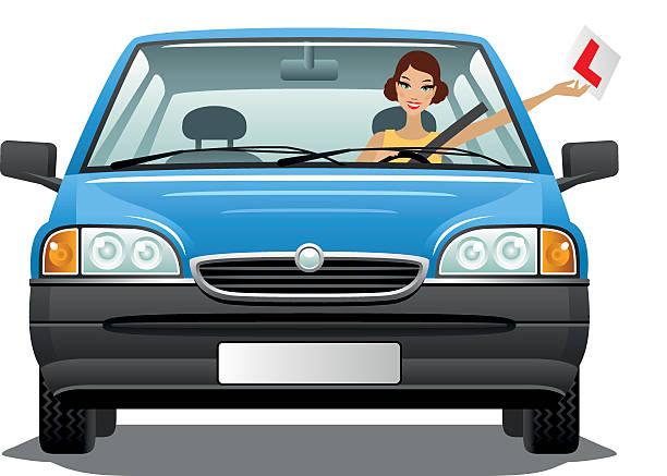 Young woman driver in a car Young woman with L plate has just passed the driving test. test drive stock illustrations