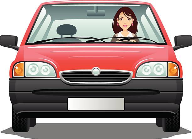 ilustrações, clipart, desenhos animados e ícones de jovem mulher motorista - carro mulher