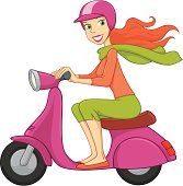 Young Woman Drives A Scooter