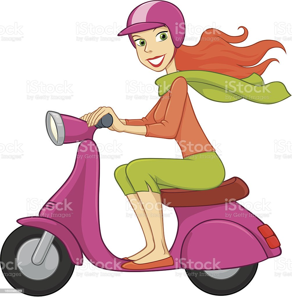 Young Woman Drives A Scooter vector art illustration