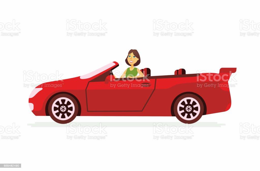 Jeune Femme Conduire Une Voiture Dessin Animé Personnes
